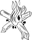 wooden log fire