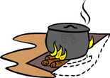 cooking on wooden log