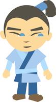 blue dressed karate kid