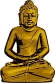 golden buddha meditates