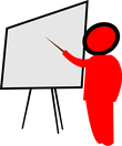 teacher with white board