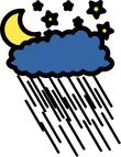moon starts and rain