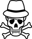 hat wearing skull