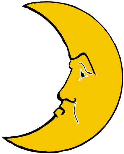 yellow cresent moon face