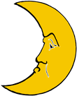 yellow cresent moon face