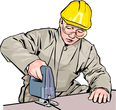 A worker with sawing machine
