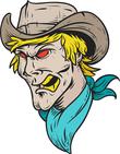 Angry cowboy man