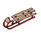 long wooden sledge