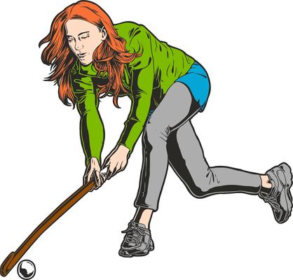 Girl play hockey